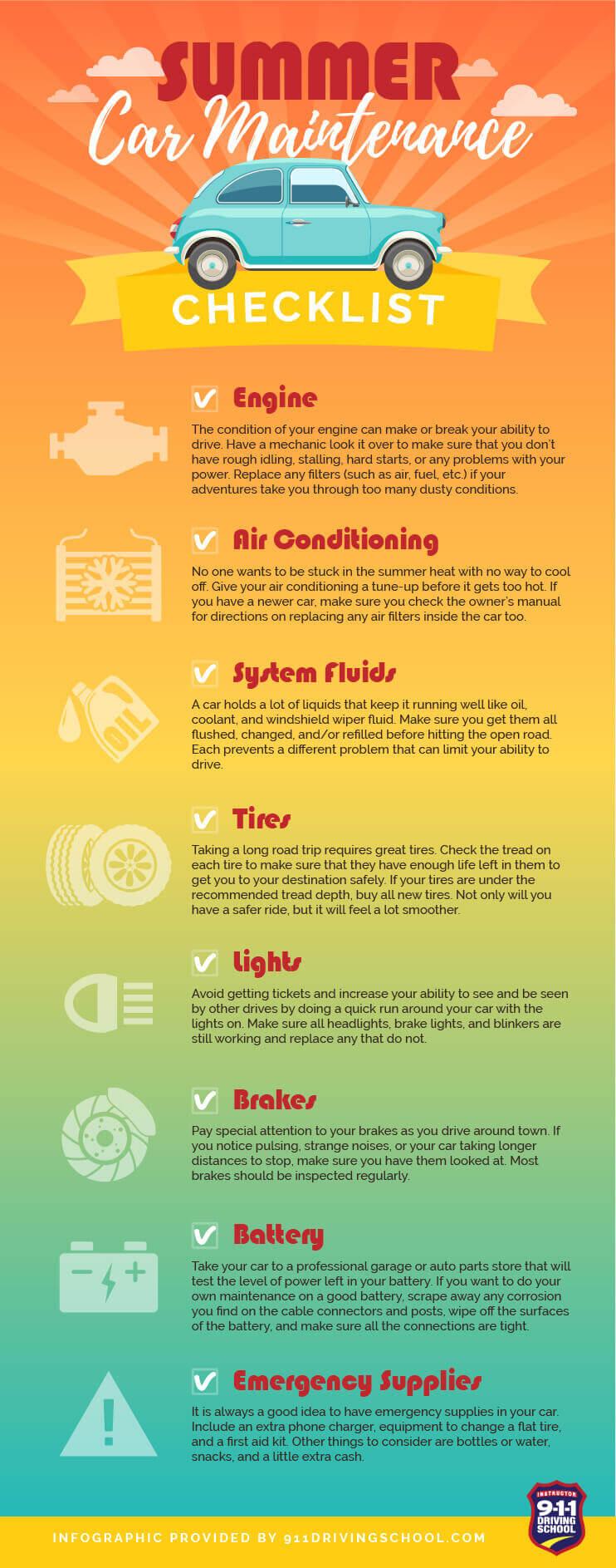 Car Maintenance Checklist >> Summer Car Maintenance Checklist | 911 Driving School